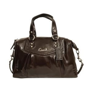 Coach Ashley Patent Leather Satchel F20460 Brown